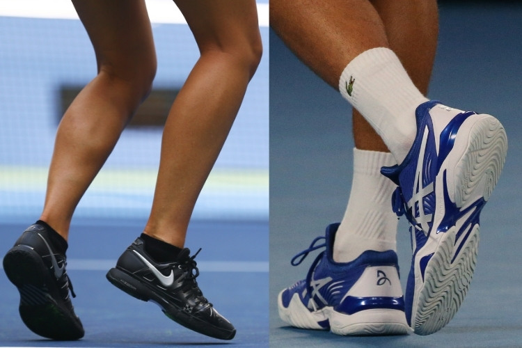 closeup of male and female players footwear